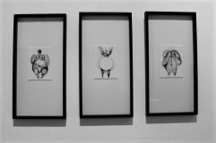 Greyscale. Three rectangular framed pieces of art, which are abstract human figures.