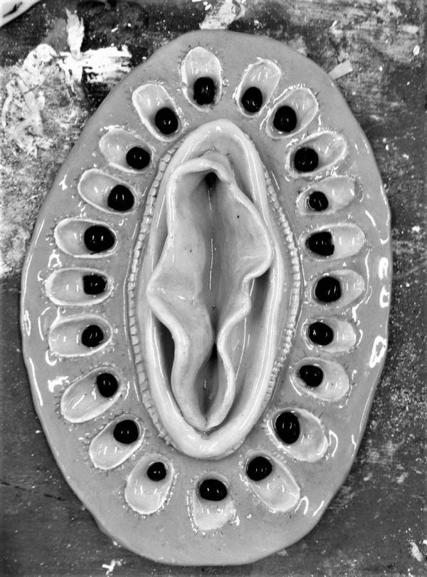 """Greyscale. Eloise White's """"Kiwi Cooch"""" piece., which looks like a cross-section of a kiwi with a vulva in the middle."""
