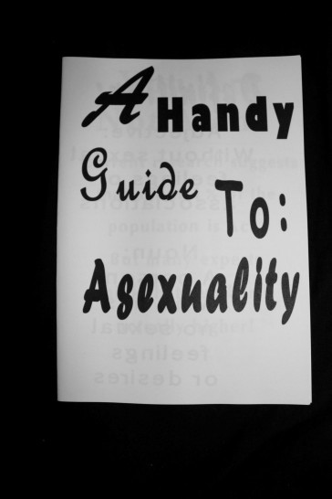 """The front of the """"A Handy Guide to Asexuality"""" zine. It reads """"A Handy Guide to Asexuality"""" in a variety of fonts."""