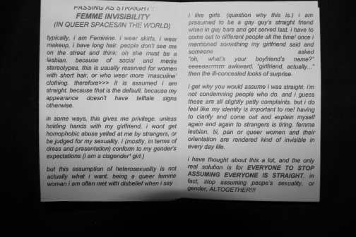 """The inside of the Queer/+Femme mini zine. It reads """"passing as straight: femme invisibility (in queer spaces/in the world)"""