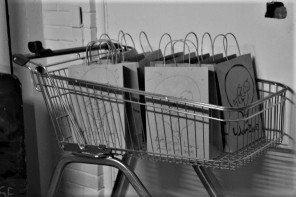"""A shopping trolley filled with small paper bags that read """"Artificial Womb Feminist Arts Zine."""" On each bag is a picture of a baby in a lightbulb holding a book."""