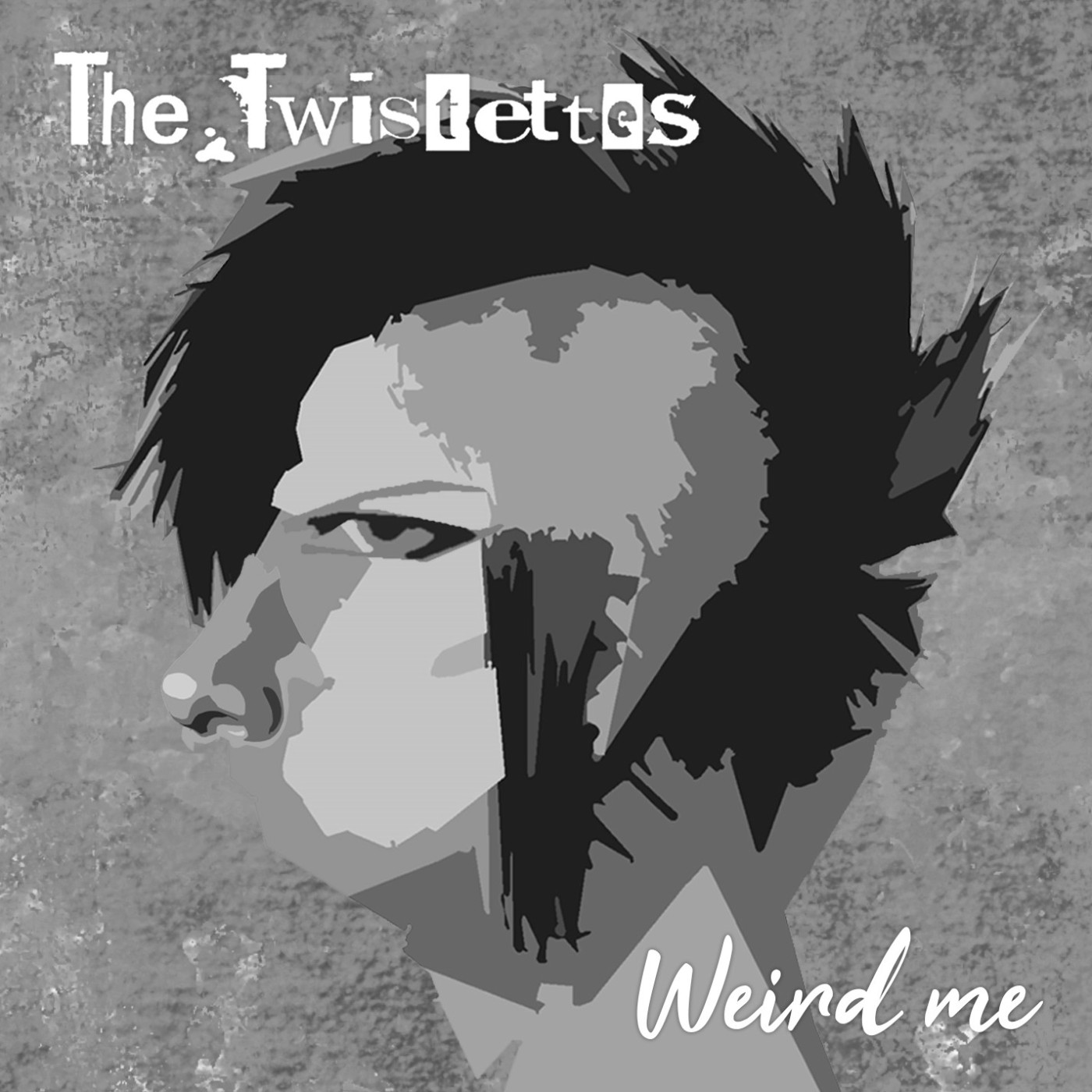 """A greyscale version of The Twistettes' """"Weird Me"""" album cover. It features a print of a person's head, looking side-on. The person has a mohawk and the visible side of their head is shaved. The phrase """"The Twistettes"""" is on the upper-left side of the image, and the phrase """"Weird Me"""" is on the bottom-right."""