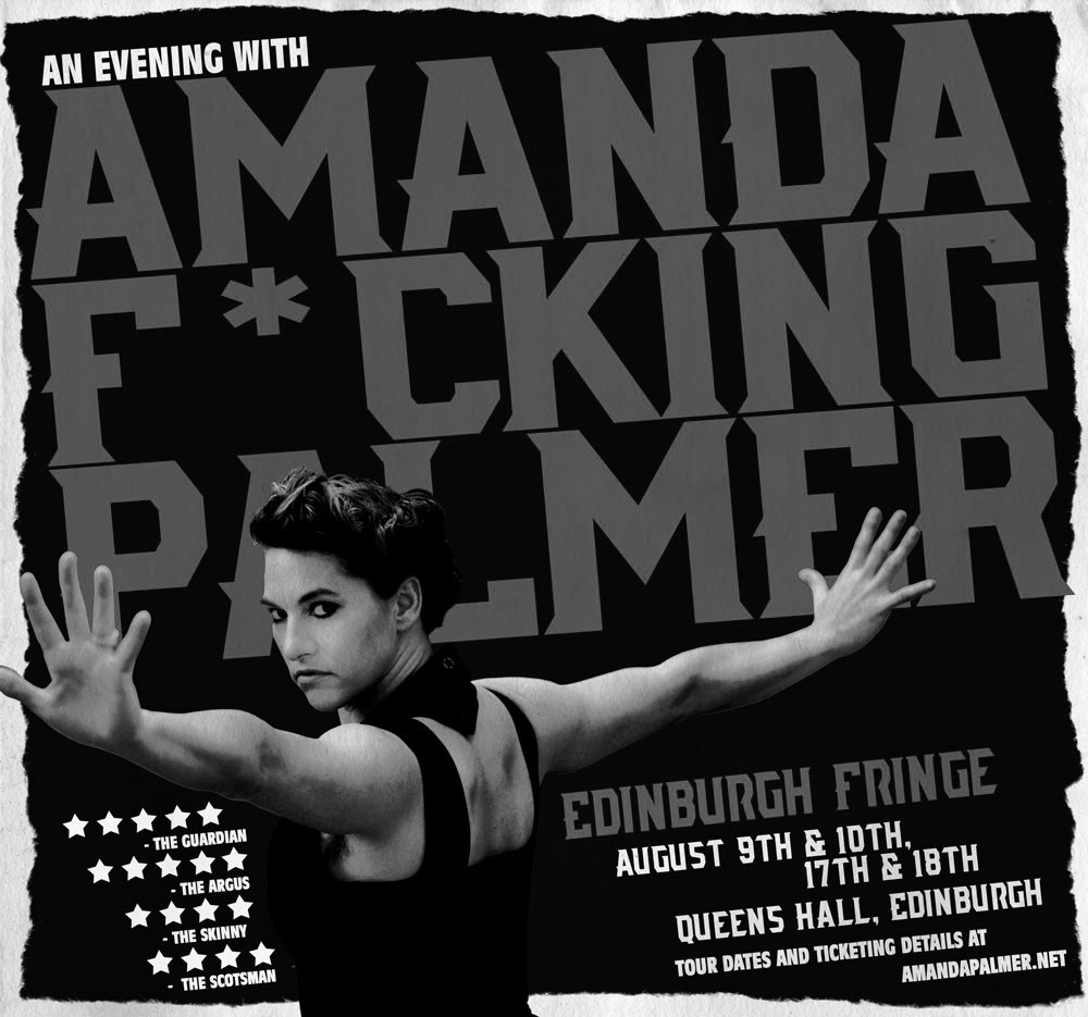 """A greyscale image of the poster advertising """"An Evening With Amanda F*cking Palmer."""" Amanda, a white woman, stands in profile with her arms stretched out, staring intently at the viewer."""