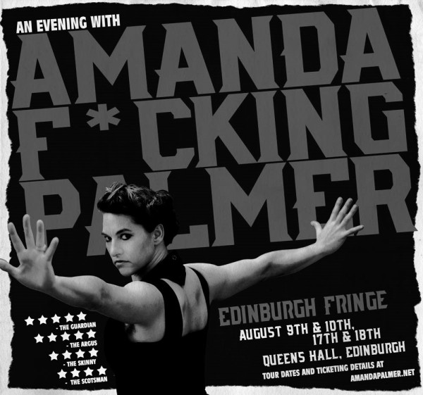 "A greyscale image of the poster advertising ""An Evening With Amanda F*cking Palmer."" Amanda, a white woman, stands in profile with her arms stretched out, staring intently at the viewer."