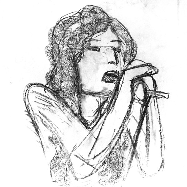 A sketch of Florence Welch singing into a microphone held close to her mouth.