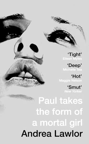The book cover in greyscale of Paul takes the form of a mortal girl. A white person's looks up above them, at an angle that suggests they are lying down. Their face takes up the whole cover.