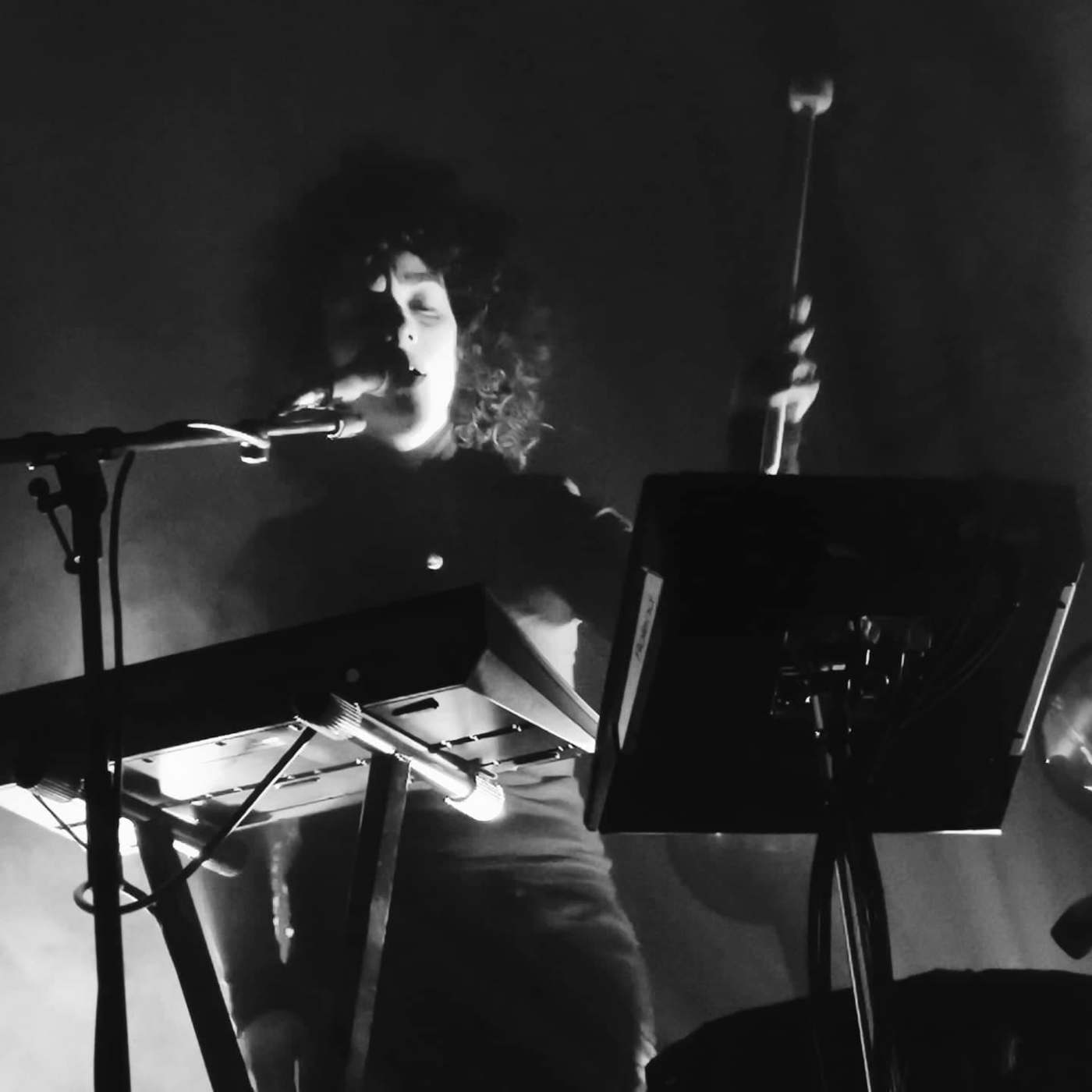 A greyscale image of Kathryn Joseph performing. She is partly obscured by shadows, one half of her face is lit up. She sings into a microphone behind a keyboard and raises a soft mallet drumstick.