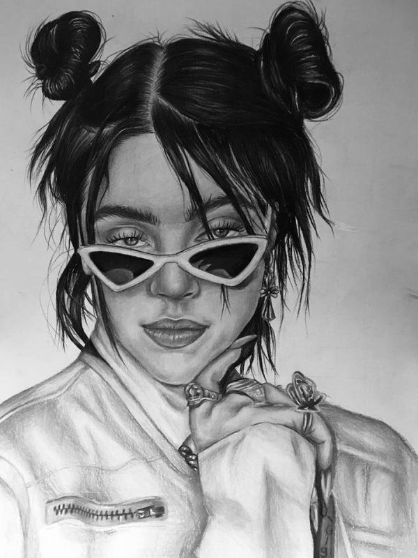 A greyscale drawing by Francesca Cipars of Billie Eilish, a white woman with dark hair. Her hair is tied up in two buns on either side of her head, and wisps are falling down her face. She is wearing sunglasses that are titled downwards so her eyes are visible. She is wearing a leather jacket.