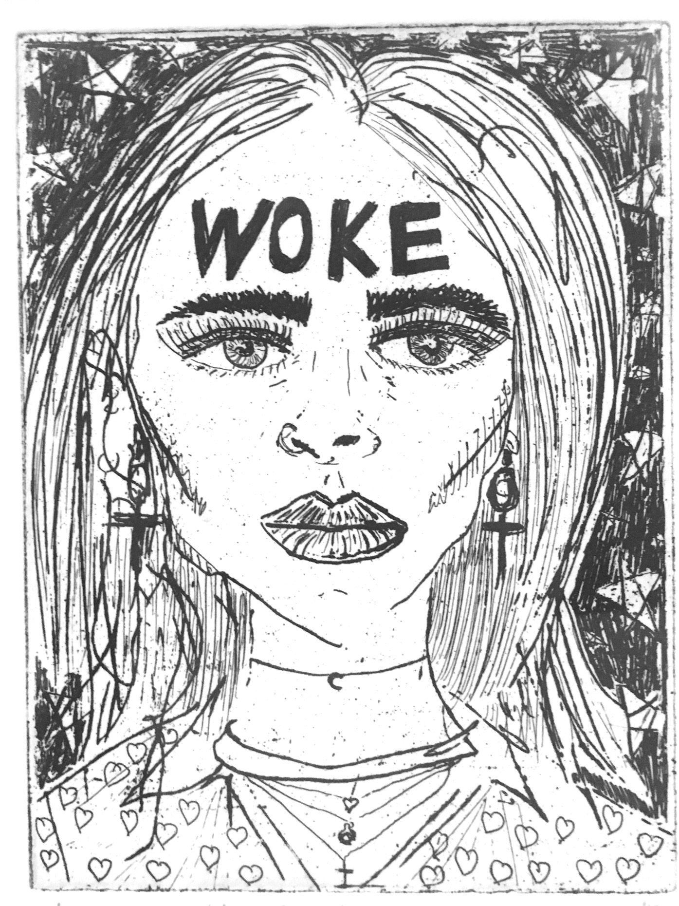 """A drawing by Anna Olafsson of a woman with long hair looking straight ahead. She has the word """"woke"""" in black all-caps on her forehead and is wearing dangly earrings in the shape of the Venus symbol. Behind her is a black background with large stars."""
