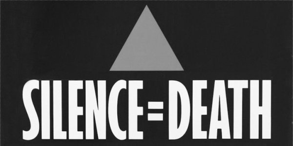 "A grey triangle on a black background, with the words ""Silence=Death"" underneath in white capitals letters."