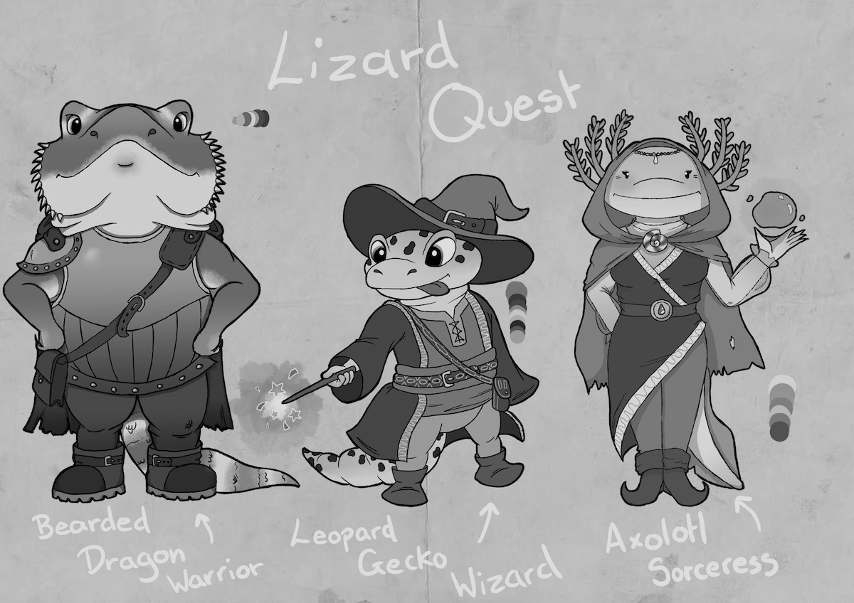Greyscale. Abigail King's Lizard Quest Concepts: a proud dragon warrior, a Gecko wizard with a floppy hat and sparkling wand, and Sorceress Axolot - a female fish-like creature with seaweed antlers levitating a magic bubble.