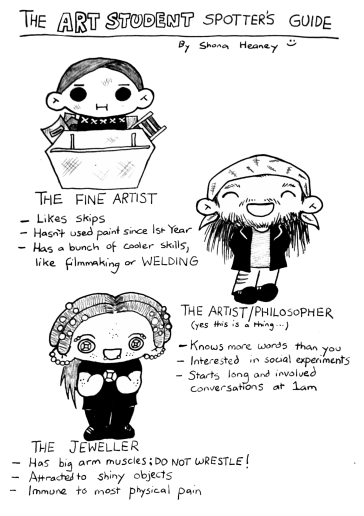 """Pictures of three different types of art students. One is """"The Fine Artist: likes skips, hasn't used paint since 1st year, has a bunch of cooler skills, like filmmaking or welding,"""" the next is """"The Artist/Philsopher, yes this is a thing, knows more words than you, interested in social experiments, starts long and involved conversations at 1am."""" The last of the three is """"The Jeweller: Has big arm muscles: do not wrestle! Attracted to shiny objects, immune to most physical pain."""""""