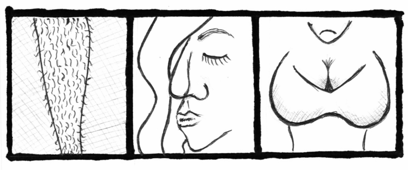 Greyscale. Three equally-sized drawings, one of a hairy leg, one of a woman's face with long hair covering one eye, and another of a woman's chest, covered by a bra.
