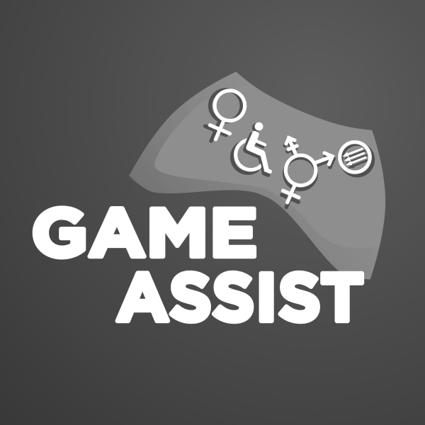 """Greyscale. The Game Assist logo. The phrase """"Game Assist"""" in in the middle in white all-caps. Above and to the right of this is the shape of a typical video-game controller in grey. There are white symbols on it: The Venus (woman) symbol, the wheelchair-user symbol, the transgender symbol, and a circle with three arrows all pointing diagonally downwards."""