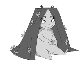 Greyscale. Midori, a turtle character by Millie Mara-Mackie, sits on the ground. Her flower-covered hair is long and covers her like a tent. She has a smile on her face and looks content.