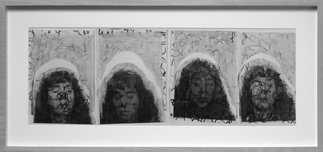 Greyscale. Four pictures of a woman with her eyes closed. There is lots of shorthand drawn over each one of them.