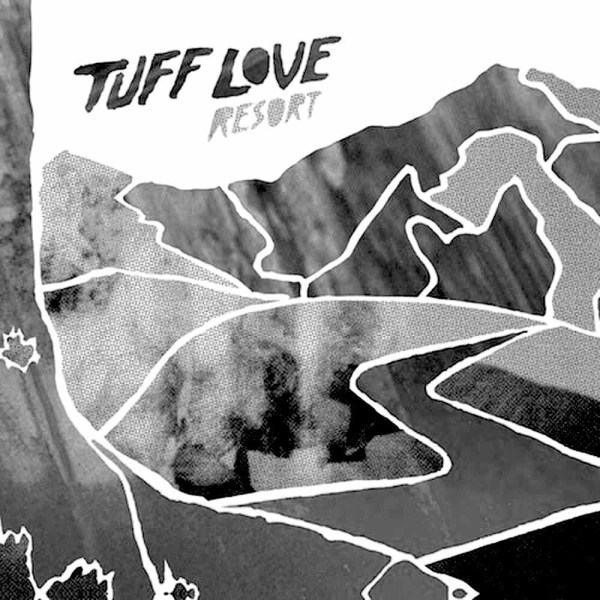 Greyscale. The album cover for Tuff Love, Resort. It consists of extremely abstract shapes that look like mountains and waves, in various textures of grey. Some look like fabric.