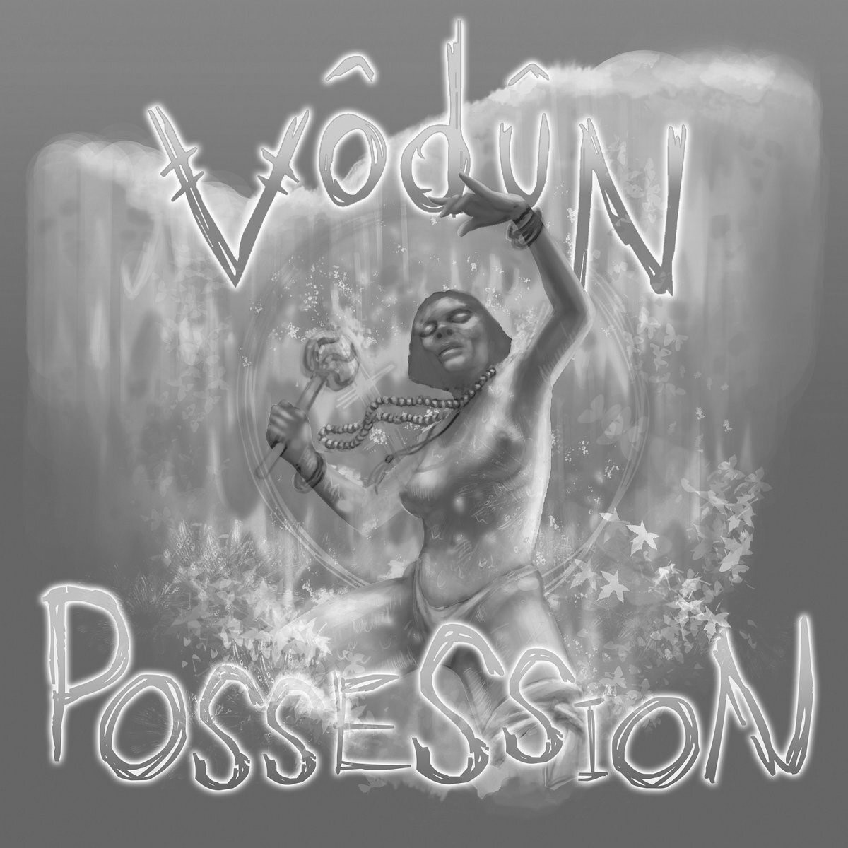 Greyscale. The album cover for Vodun's Possession. It features a still of a woman swaying as leaves fall around her as she shakes an instrument. woman