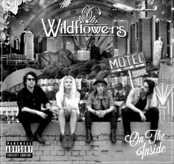 """Greyscale. Four people sitting on a low wall. There is a superimposed city skyline behind them, and a sign pointing towards a motel. Text reads """"Wildflowers On The Inside."""""""