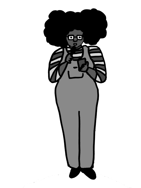 Greyscale. A drawing of Daisy Anne Aiken speaking into a microphone, reading from her phone.