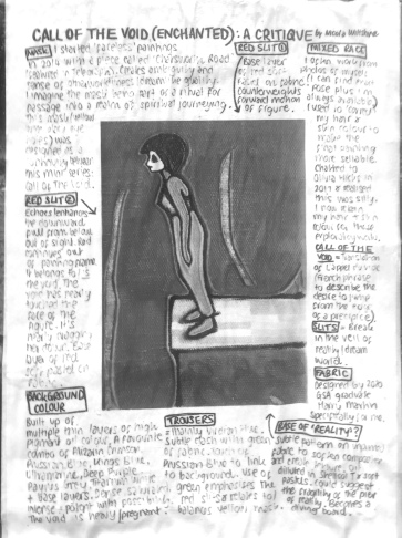 """Greyscale. In the middle of the image is a drawing of a woman standing on a ledge, with the sea beneath her. Around this image is text that is too small to read, under headings """"base of 'reality?'"""" """"background colour"""" """"trousers"""" """"slits"""" """"fabric"""" """"mixed race"""" """"red slit"""""""