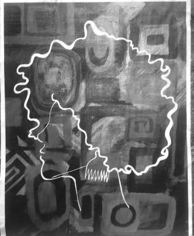 Greyscale. A silhouette of a Black woman side on, in front of a background of squares. The silhouette is translucent so the viewer can see the square patterns. The viewer can only see the woman's head and neck. Her afro is outlined.