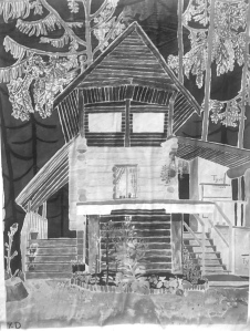 Greyscale. A drawing of a large wooden house with a porch and two staircases. It has a garden and there are tall pine trees behind it.