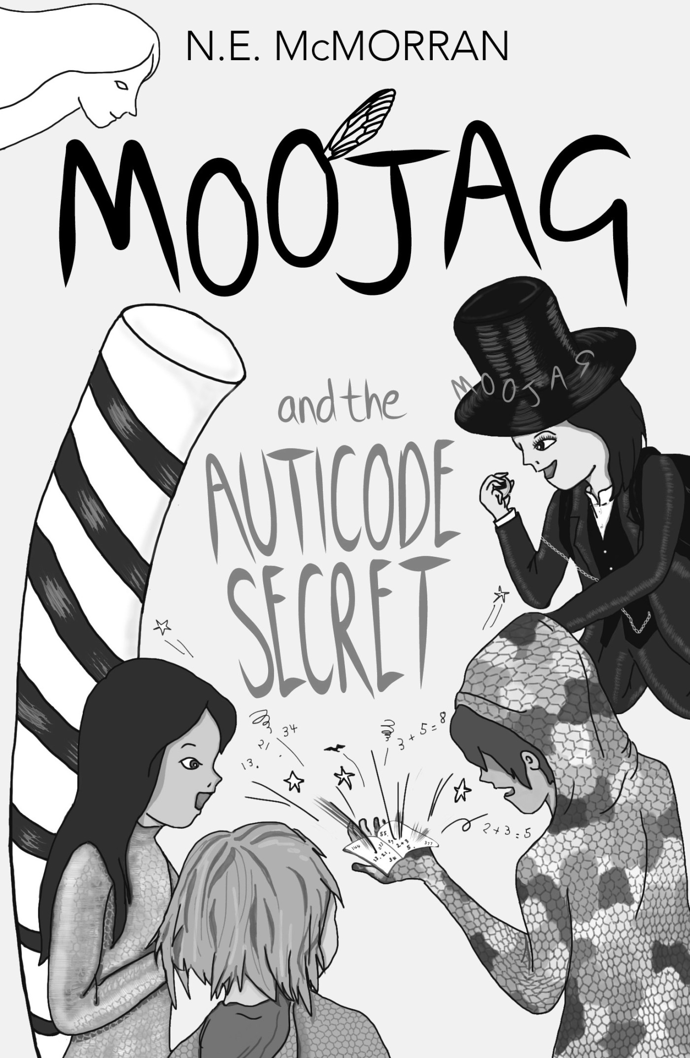 Greyscale. The front cover of Moojag and the Auticode Secret. Nema, Izzy, and Moojag, a boy in a top hat, stand around Adam, who is looking at a book in the palm of his hand that's shooting out sparks.