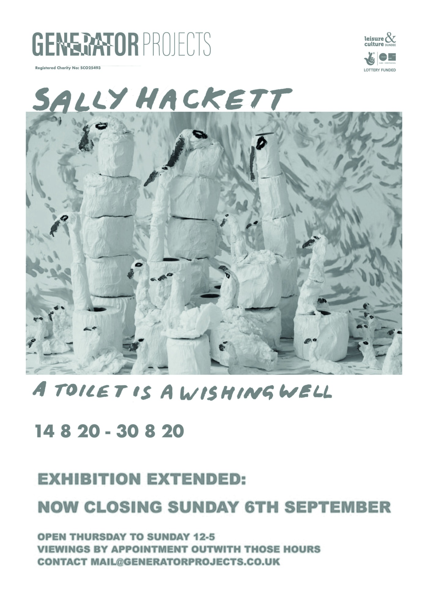 """An advert for Sally Hackett's exhibition, """"A toilet is a wishing well."""" and a picture of toilet rolls in a winter wonderland scene. It says that the exhibition closes on sunday 6th september and is at Generator Projects."""