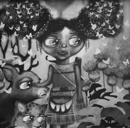 Greyscale. A black girl wearing a kilt in a forest, surrounded by animal friends. She is looking apprehensive.
