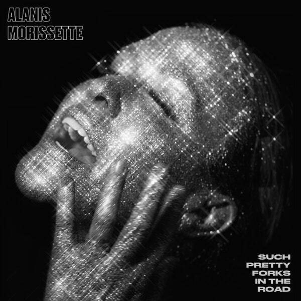 """Greyscale. Alanis Morissette singing with her head titled up, sparkling like she's been covered in glitter. Text reads """"Alanis Morissette such pretty forks in the road."""""""