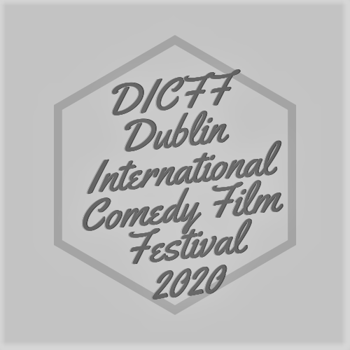 "Greyscale. A hexagon with cursive writing inside that reads ""DICFF Dublin International Comedy Film Festival 2020."""