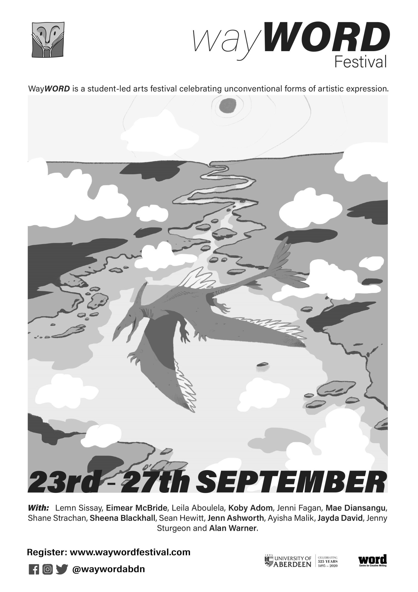Greyscale. The WayWORD 2020 poster, featuring a dragon flying over hills and that it was from the 23rd to 27th of September.