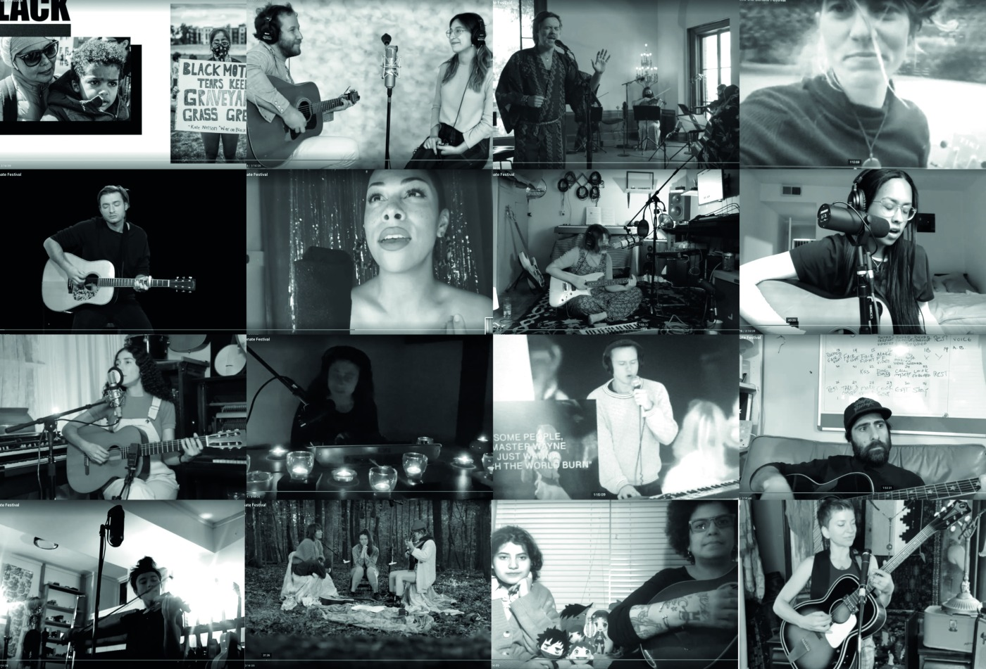 Greyscale. grid of musicians and comedians taking part in Save the Senate, made up of screenshots of the stream.