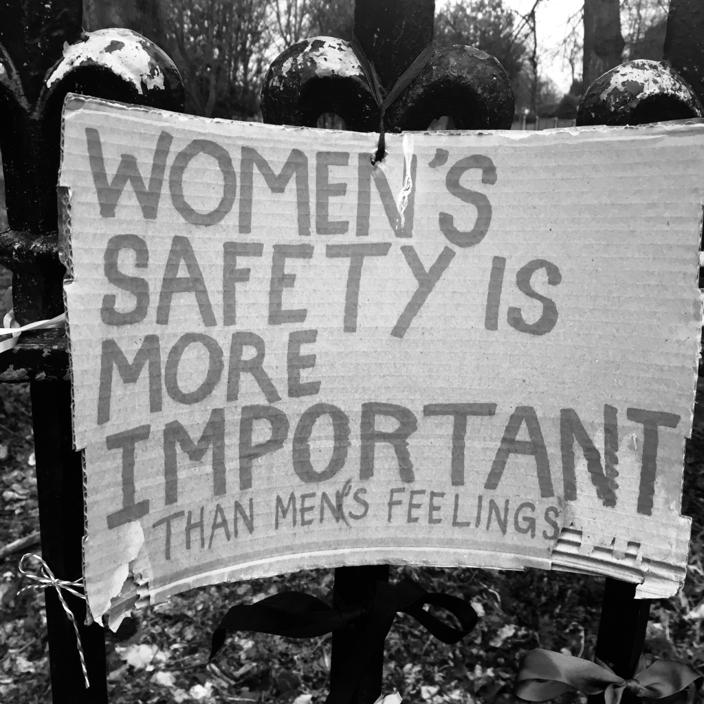 Sign reads, Women's Safety Is More Important Than Men's Feelings