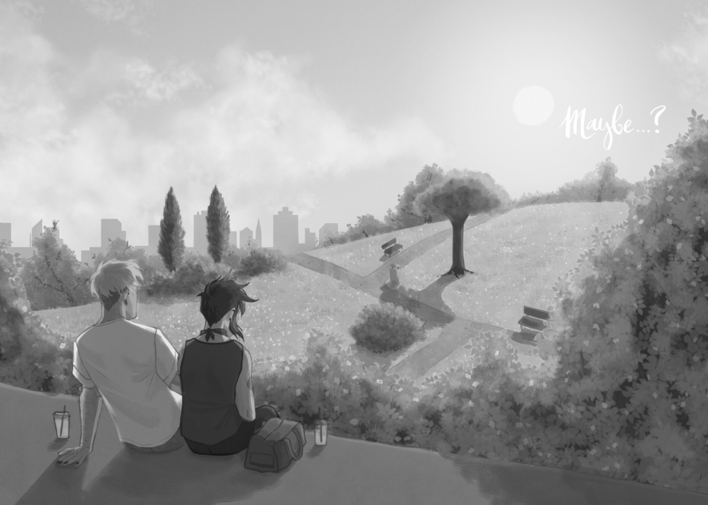 """Greyscale. Two people sitting on a wall that overlooks a park, with drinks beside them. The word """"Maybe..?"""" is in the top right."""