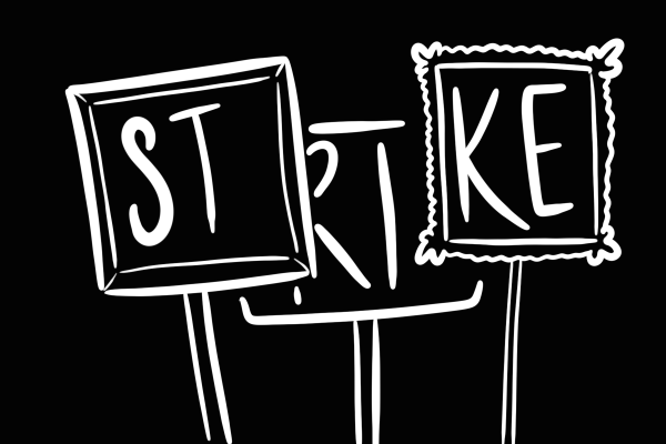 """Black and white illustration of three picture frames held as protest signs and with the word """"strike"""" written across them."""